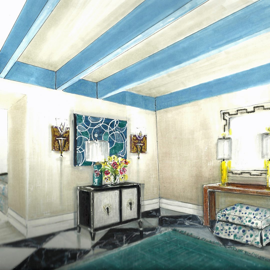 colorful foyer rendering
